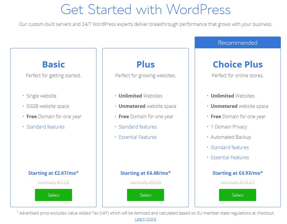Tableau des offres Basic Plus et Choice Plus Bluehost - Les 3 hébergement de site internet pour wordpress conseillé par WordPress.org - Diggite.com