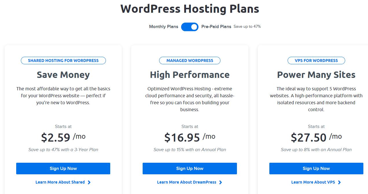Tableau des offres Save Money, High Performance et Power Many Sites Dreamhost- Les 3 hébergement de site internet pour wordpress conseillé par WordPress.org - Diggite.com