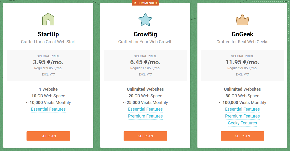Tableau des offres StartUp GrowBih GoGeek Siteground- Les 3 hébergement de site internet pour wordpress conseillé par WordPress.org - Diggite.com