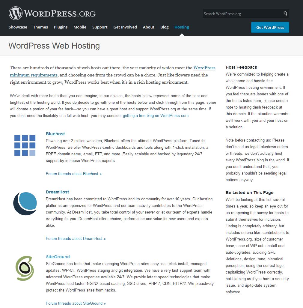 Les 3 hébergement de site internet pour wordpress conseillé par WordPress.org - Diggite.com
